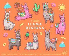 Llama Clip Art, Alpaca Clipart, Cute Clipart, Llama Illustration, Vector Clipart, Llama Clipart, Com Llama Clipart, Cute Clipart, Vector Clipart, Unicorn Illustration, Cute Llama, Printable Stickers, Tile Patterns, Spring Flowers, Digital Scrapbooking