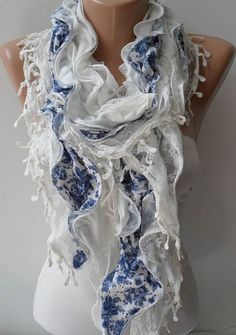 White and Blue Lace and Cotton Scarf --- Summer Colors by SwedishShop Shawls and Scarves