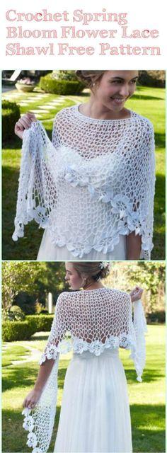 Crochet Spring Bloom Flower Lace Shawl - 10 FREE Crochet Shawl Patterns for Women's | 101 Crochet