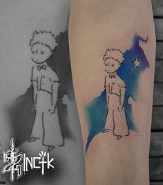 Martin Tattooer Zincik - Czech tattoo artist, Le Petit Prince - Tetování na předloktí, Watercolor tattoo design
