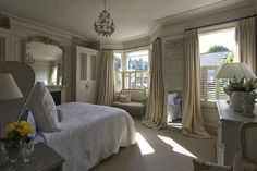 Shutters open Modern Country Style: Swedish/French Style Victorian House Tour Click through for details. Modern Victorian, Victorian Homes, Modern Country Style, French Country, Boudoir, Country Interior, French Cottage, French Decor, Guest Bedrooms