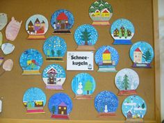 Snow globes as an art theme with a fifth class that I have in art education Winter Art Projects, Winter Project, Projects For Kids, Crafts For Kids, Arts And Crafts, Noel Christmas, Christmas Paper, Christmas Crafts, Artists For Kids