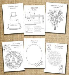 Mit diesem Mal- und Rätselheft wird es Euren kleinen Hochzeitsgästen garantiert nie Langweilig! Das Mal- und Rätselheft beinhaltet auf insgesamt 16 Seiten (hier: Seite 7 bis 12) knifflige Rätselaufgaben, niedliche Malvorlagen und noch vieles vieles mehr. http://de.dawanda.com/product/82831007-gastgeschenk-hochzeit-kinder-pdf-lovely Hochzeitsmalbuch,Malbuch,Malheft,Hochzeit,Kinder,Gastgeschenk