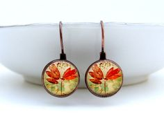 :) Red Leaf Earrings Glass Art Earrings in Vintage Copper Picture Earrings Photo Earrings
