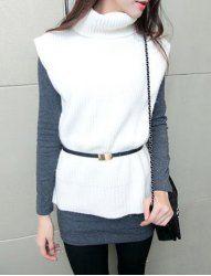 $15.73 Casual Turtleneck Vertical Stripe Irregular Sleeveless Sweater For Women