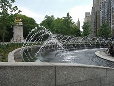 Columbus Circle Fountain, Central Park West, New York
