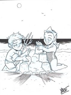 "Arthur and Mera build a sandcastle Planet Comicon 2015 in Kansas City, MO commission Pencil and ink on 9""x12"" bristol"