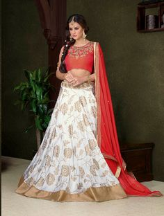 Awesome White Silk Gold Print Lehenga Choli After placed order you should submit Measurement Here