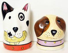 Dog Salt & Pepper Shakers Ceramic Bull Terrier Bullseye