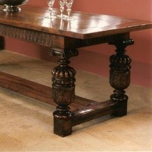 Elizabethan style hand carved cup & cover oak dining table