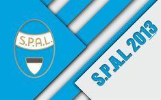Download wallpapers SPAL 2013 FC, logo, 4k, material design, football, Serie A, Ferrara, Italy, blue white abstraction, Italian football club
