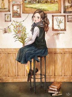 Books and flowers Forest Girl, Korean Art, Illustration Girl, Anime Art Girl, Girl Cartoon, Aesthetic Art, Cute Drawings, Cute Art, Watercolor Art