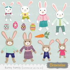 Bunny family clip art,  perfect for use in cards or invitations.   13 graphics in total.  Files are approximately 5 to 6 inches tall.  Watermark and drop shadows on preview only.