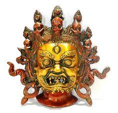 Mahakala Nepal Wall Hanging Mask Bali Padmasambhava Tibetan Himalayan Vtg Old