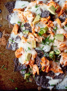 Layered Buffalo Chicken Nachos with Creamy Gorgonzola Sauce