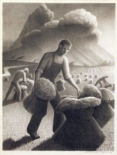 Grant Wood (American, Approaching Storm, 1940 Lithograph x inches (image) 16 x inches (sheet) Ed. 250 Signed in pencil lower right Published by Associated American Artists, New York Grant Wood Paintings, Artist Grants, Social Realism, Art Antique, Vintage Art, American Gothic, Thing 1, Art Moderne, A4 Poster