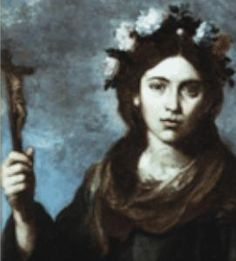 """Saint Rose of Viterbo - Feast Day Sept. 4.  Rose's dying words to her parents were: """"I die with joy, for I desire to be united to my God. Live so as not to fear death. For those who live well in the world, death is not frightening, but sweet and precious."""""""