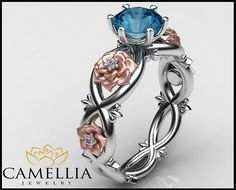 1.00CT Blue Topaz Ring 14K White Gold Diamond by CamelliaJewelry