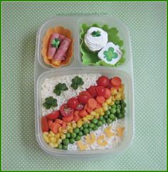 Beautiful rainbow of veggie packed for a St. Patrick's Day Bento lunchbox