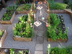 potager, kitchen garden, raised beds, gravel paths, and an arched trellis connecting the center raised beds. the arbor would be fabulous for beans or cucumbers.