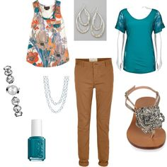 Teal and Mustard, created by rchmsj6.polyvore.com