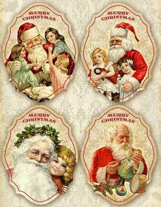 Printable Vintage Christmas Labels on Digital collage sheet por FrezeArt. Christmas Labels, Christmas Graphics, Christmas Tag, Christmas Printables, Christmas Crafts, Christmas Decorations, Christmas Nativity, Vintage Christmas Images, Victorian Christmas