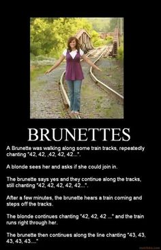 I don't get it It's the number of people (probably blondes) that have been hit by a train since the brunette has started walking on the tracks. Short Creepy Stories, Spooky Stories, Horror Stories, Joke Stories, Creepy Facts, Creepy Stuff, Funny Stuff, Blonde Jokes, Funny Memes
