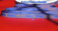 "Authentic DESIGNER ribbon 1 yard Royal Blue w/ Orange embossed LOGO 1/2"" W for DIY hair bows headband dog collar Lanyard gift wraps High-End by CatherineAnnDesign on Etsy https://www.etsy.com/listing/191025725/authentic-designer-ribbon-1-yard-royal"