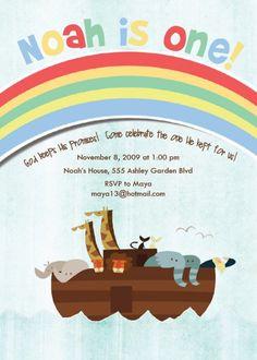 A cute Noah's ark birthday party invite Twin Birthday Parties, Kids Birthday Themes, Baby Boy 1st Birthday, Birthday Fun, Noahs Ark Party, Noahs Ark Theme, Twins 1st Birthdays, Animal Party, Birthday Party Invitations