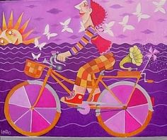 made by: Leandro Lamas Bicycle Art, Bike, Unicycle, Roald Dahl, Applique, Clip Art, Kids Rugs, Bicycling, Painting Abstract