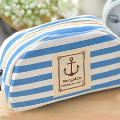 Blue and white striped anchor travel makeup bag! $8