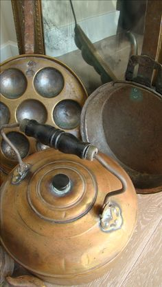 Antique brass & copper cookware