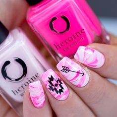 Nail Art Essentials: Marble Pink nail Art for Breast Cancer Awareness #bohemian #marblenails #nailart