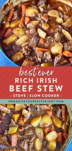 Irish Beef Stew With Guinness (Stove top & Slow Cooker) - Looking for an easy, damn delicious irish beef stew recipe this St. This traditional Irish beef stew with guiness recipe is croc Irish Beef Stew Recipe, Stew Meat Recipes, Beef Stew Crockpot Recipe, Stewing Beef Recipes, Easy Stew Recipes, Slow Cooker Beef, Slow Cooker Recipes, Cooking Recipes, Irish Stew Slow Cooker