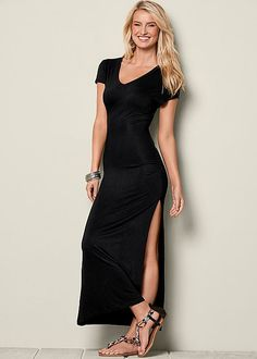 V-NECK MAXI DRESS WITH SLIT, EMBELLISHED SANDAL