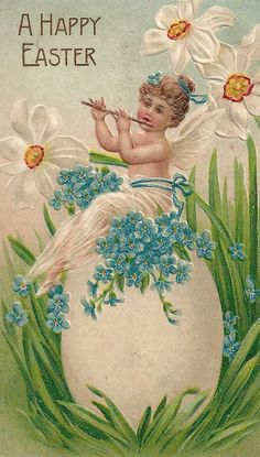 Vintage Easter postcard with forget-me-nots