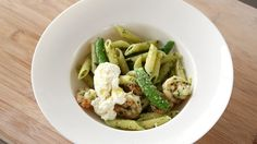 Watch Martha Stewart's Shrimp and Penne with Spring Herb Pesto Video. Get more step-by-step instructions and how to's from Martha Stewart.
