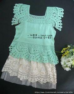 crochet and knit top Crochet Fabric, Crochet Motif, Crochet Baby, Knit Crochet, Crochet Patterns, Crochet Collar, Knit Shirt, Crochet Clothes, Shirts For Girls