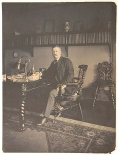 Theodore Roosevelt Large-Format Photograph $1,200  Most likely taken early in his presidency, Roosevelt is seated at his desk holding a pen in his right hand. The image has superb tone and detail.