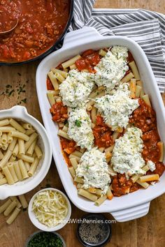 Baked Ziti is an easy weeknight meal. Tender ziti pasta is layered with ricotta cheese and a zesty sausage meat sauce. It's all smothered in cheese and baked until bubbly. meals pasta Baked Ziti Recipe (easy to make) - Spend With Pennies Easy Baked Ziti, Baked Ziti With Ricotta, Recipes With Ricotta Cheese, Sausage Baked Ziti, Best Baked Ziti Recipe, Baked Ziti Recipes, Baked Ziti Healthy, Ricotta Recipes Healthy, Pasta Salad
