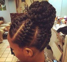 Hi ladies. Selected for you are goddess braids pictures to show your hairstylist for your next hairdo. African Braids Hairstyles, Braided Hairstyles Updo, My Hairstyle, Cornrows Updo, Jumbo Cornrows, Braided Ponytail, Protective Hairstyles, Ghana Braids Updo, Fringe Hairstyle