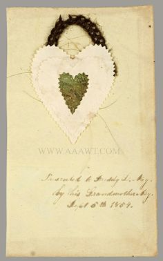 Love Token, Layered Paper, Heats, Woven Hair Wreath, To Freddy L. Day by his Grandmother Nay Sept 5th 1854