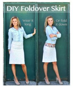 DIY Knit Skirt. Foldover Waist. Only requires one seam. Super easy and fun way to play around with printed knits.