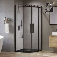 Say hello to this gorgeous black quadrant shower enclosure, with easy clean glass & stylish matte black shower frames.