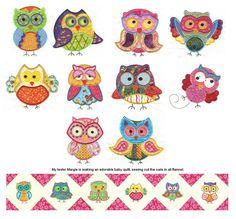 Owl Sets Applique Machine Embroidery Designs | Designs by JuJu
