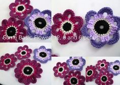 Suz Place: 6, 8 and  12 Petal Versions - free crochet pattern