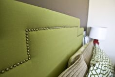 "DIY Upholstered Headboard w/ ""damn-it"" tacks.."