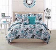 17 Essentials Peony Aqua Comforter Set Comforter Sets