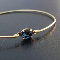 Bangle Bracelet Lina  Gold Tone Blue Rhinestone by FrostedWillow