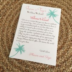 Wedding Welcome Letters with Palm Tree Design for